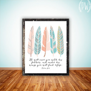 ... decor feathers, inspirational quote birds Psalm 91:4 INSTANT DOWNLOAD