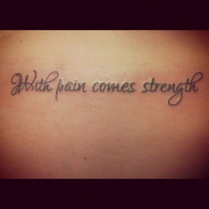 upper back tattoo quotes about strength in decorated letter- With pain ...
