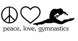 Details about Peace Love Gymnastics Sticker / LARGE Vinyl Wall Decal ...