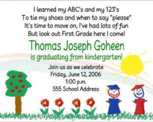Kindergarten Pre- School Pre-K Grad uation Graduate Party Invitations ...