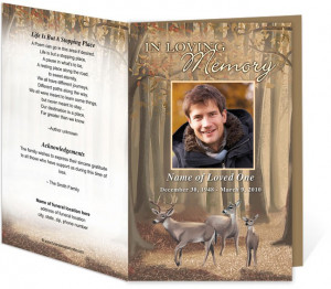 Funeral Memorial Funeral Programs Deer Letter Single Fold Funeral ...