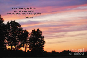 Sunset With Psalm Scripture Photograph