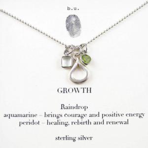 ... , Raindrop, Aquamarine, Peridot, Inspirational Quote Necklace Jewelry