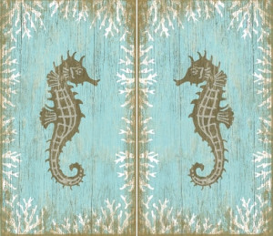 Seahorse Wood Signs Left and Right