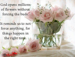 God opens millions of flowers without forcing the buds. It reminds us ...