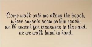 come walk with me along the beach quotes words lettering decals