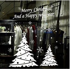 Christmas tree happy new year vinly PVC shop window sticker DIY art ...