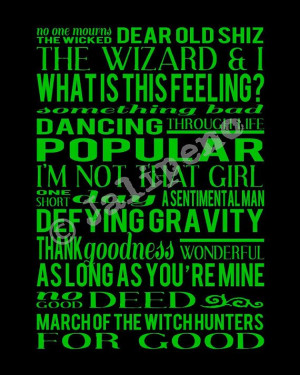 Wicked the Musical Songs Track List Score - INSTANT DOWNLOAD Printable ...