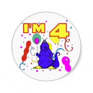 4th_birthday_dinosaur_birthday_sticker ...