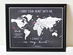 etsy.comCUSTOM Long distance relationship love world map print 11x14 ...