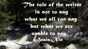 ... . Anais Nin quote on view of stream running in Crazy Woman Canyon