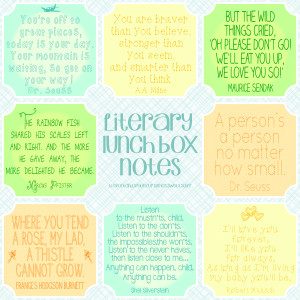 Literary Lunch Box Notes by www.spoolandspoonblog.com for Sumo's Sweet ...