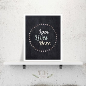 Love lives here quote poster Love printable wall by ArtFilesVicky, € ...