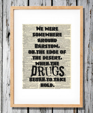 Hunter S. Thompson Quote - Fear and Loathing - Art Print on Vintage ...