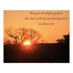 Texas Sunrise, Scripture Quote from Corinthians Print