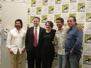 ... Eick, Jane Espenson and Ronald D. Moore at event of Caprica (2009