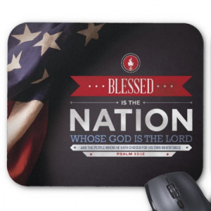Patriotic Mousepad - Psalm 33:12 Bible Verse