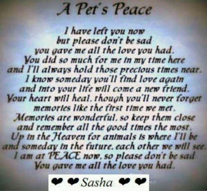 For everyone who has lost a beloved pet!