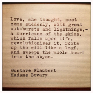 Madame Bovary Love Quote Typed on Typewrier & Framed