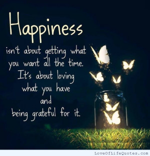 Happiness isn't about getting