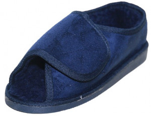 New Extra Wide Fit Fur Lined Open Toe Velcro Navy Blue Slippers Shoe
