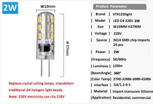 ... LED 220 V LED de la lámpara 24 unids 3014 SMD LED de silicona G4 LED