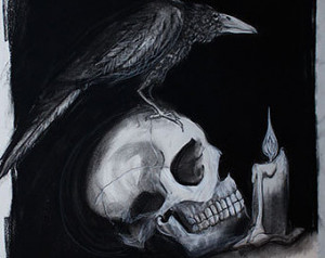 Quote the Raven - ORIGINAL Charcoal Drawing 18