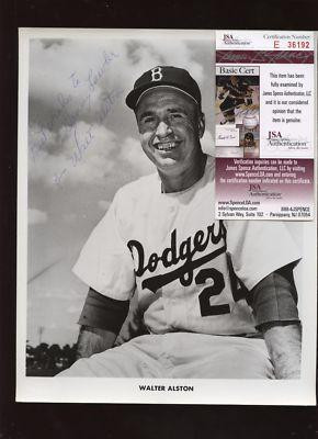 Signed Walter Alston Photo 1957 Brooklyn Dodgers Team Issued JSA