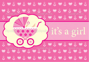 Baby Girl Announcement Vector Stock Ivana Vectores