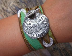 Silk Wrap Bracelet, Inspirational Quote STERLING, Handmade Jewelry