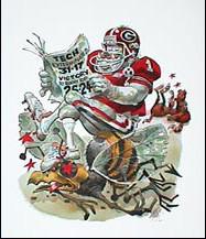 Humorous Funny University of Georgia Bulldogs Illustration Art
