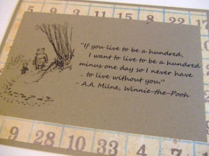 Live To Be A Hundred Winnie the Pooh Quote by prettypetalspaper, $3.25