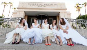 ... Jillian and Emily sit on the steps of the LDS Temple in Mesa, Arizona