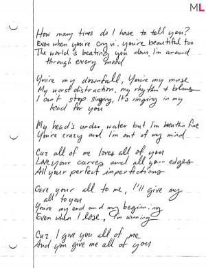 WIN: John Legend's Handwritten