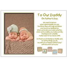 Fathers Day Gift from daughters and sons - Daddy poem from 2 or more ...