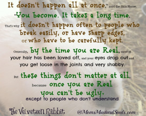 ... again, she reminded me of a beautiful quote from the Velveteen Rabbit
