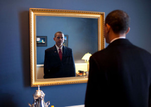Barack-Obama-takes-one-last-look-in-the-mirror-before-going-out-to ...