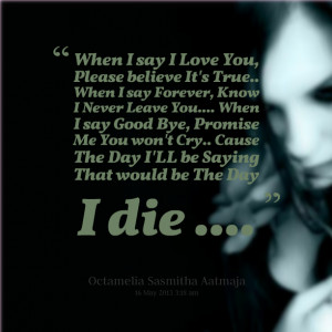 Quotes Picture: when i say i love you, please believe it's true when i ...
