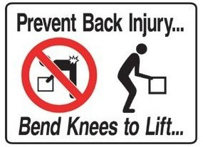 Workplace Safety Sign Prevent Back Injury Poly