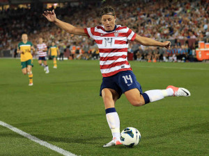 Abby Wambach #14 of the U.S. strikes the ball against Australia at ...