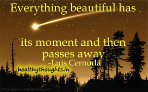 Everything beautiful has its moment and then passes away.