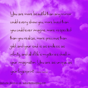 You are a unique and beautiful soul. Positive inspirational quote