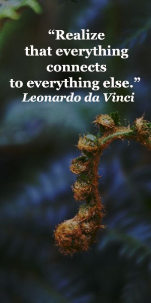 "... that everything connects to everything else."" Leonardo da Vinci"