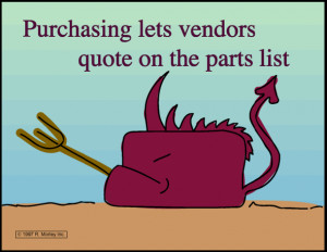 Purchasing lets vendors quote on a parts list