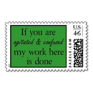 Green funny quotes postage stamp office humor joke
