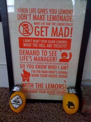 When life gives you lemons, don't make lemonade! Make life take lemons ...