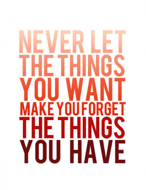 Never let the things you want make you forget the things you have.