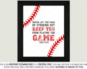Baseball Quote Print Art- Babe Ruth Quote, Red, White, Nursery Art ...