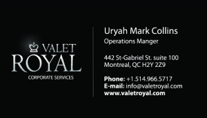 Valet Royal Business Cards