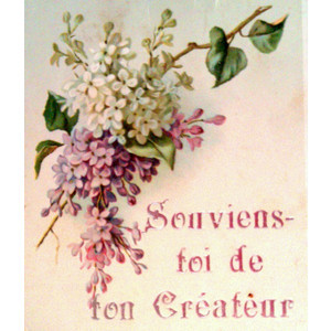 FRENCH Antique Religious Bible Quote Card with Flowers Vintage ...